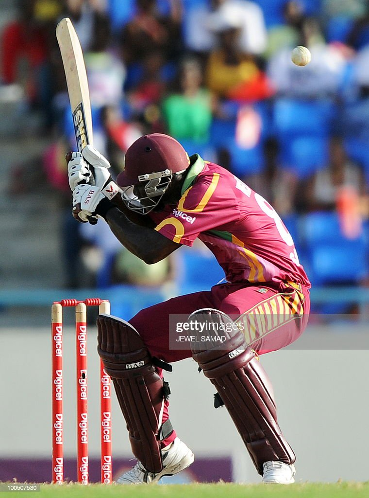 West Indies cricketer Darren Sammy avoids a bouncer during the second One Day International match between West Indies and South Africa at the Sir Vivian Richards Stadium in St John's on May 24, 2010. Batting first, South Africa scored 300-runs at the end of their innings. AFP PHOTO/Jewel Samad