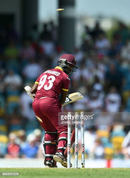 West Indies cricketer Jason Mohammed is clean bowled off England's Liam Plunkett during the final of the threematch One Day International series...