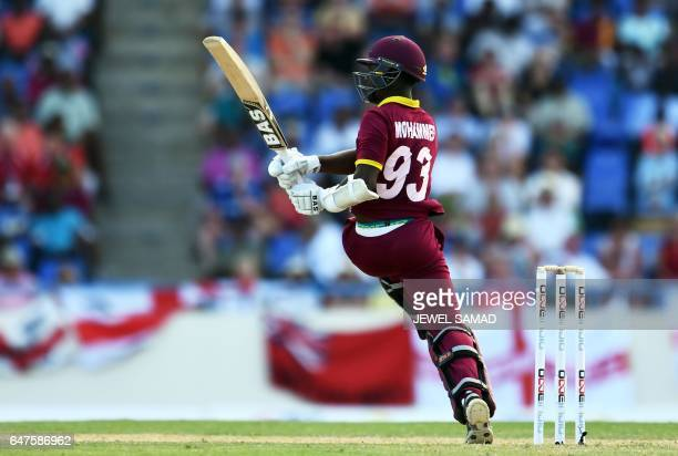 West Indies cricketer Jason Mohammed plays a shot during the One Day International match between England and West Indies at the Sir Vivian Richards...
