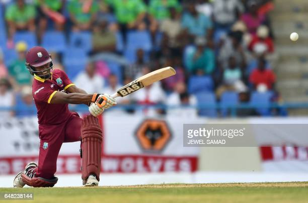 West Indies cricketer Jason Mohammed plays a shot during the second of the threematch One Day International series between England and West Indies at...