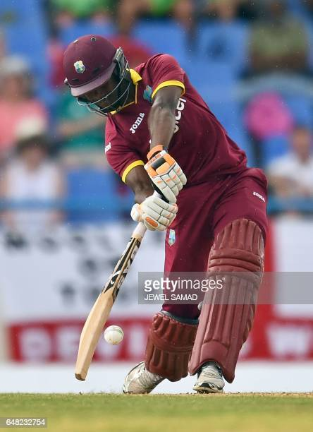 West Indies cricketer Jason Mohammed plays during the second of the threematch One Day International series between England and West Indies at the...