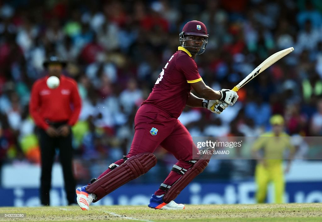 West Indies cricketer Johnson Charles plays a shot during the final match of the Tri-nation Series between Australia and West Indies in Bridgetown on June 26, 2016. / AFP / Jewel SAMAD