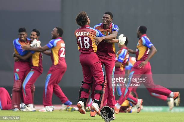West Indies cricketer Keacy Carty reacts after winning the Under19 World Cup cricket final between India and West Indies at the The ShereBangla...