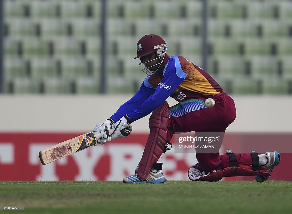 West Indies cricketer Keemo Paul plays a shot during the Under-19 World Cup cricket final between India and West Indies at the The Sher-e-Bangla National Cricket Stadium in Dhaka on February 14, 2016. AFP PHOTO / Munir uz ZAMAN / AFP / MUNIR UZ ZAMAN