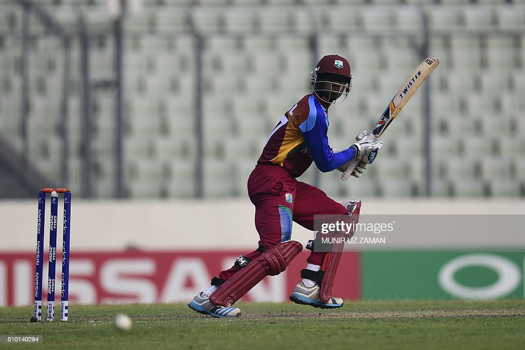 West Indies cricketer Keemo Paul plays a shot during the under-19s World Cup cricket final between India and West Indies at the Sher-e-Bangla National Cricket Stadium in Dhaka on February 14, 2016. AFP PHOTO/Munir uz ZAMAN / AFP / MUNIR UZ ZAMAN
