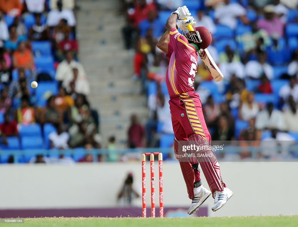 West Indies cricketer Kieron Pollard plays a shot during the second One Day International match between West Indies and South Africa at the Sir Vivian Richards Stadium in St John's on May 24, 2010. Batting first, South Africa scored 300-runs at the end of their innings. AFP PHOTO/Jewel Samad