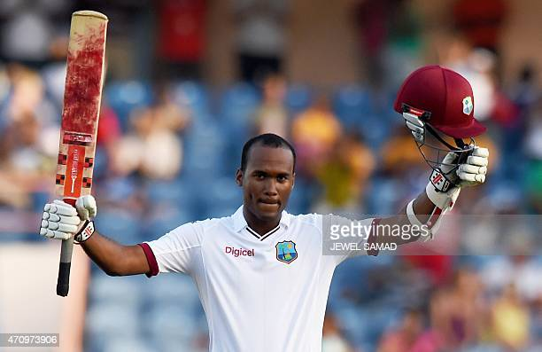West Indies cricketer Kraigg Brathwaite celebrates scoring his century during day four of the second Test cricket match between the West Indies and...