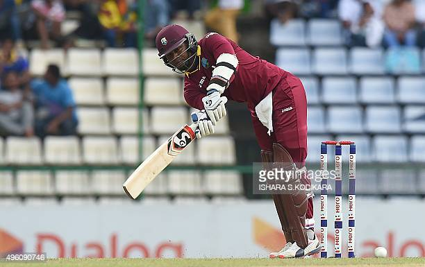 West Indies cricketer Marlon Samuels plays a shot during the third and final One Day International match between Sri Lanka and the West Indies at the...