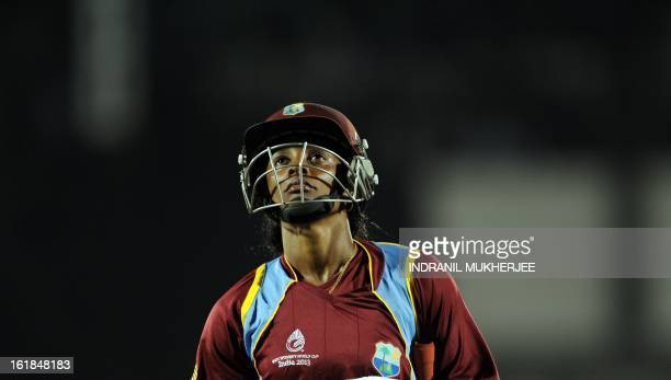 West Indies cricketer Merissa Aguilleria reacts after her dismissal during the final match of the ICC Women's World Cup 2013 between Australia and...
