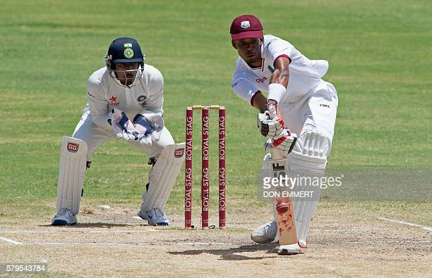 West Indies' cricketer Roston Chase bats during day four of the cricket test match between West Indies and India July 24 2016 at Sir Vivian Richards...