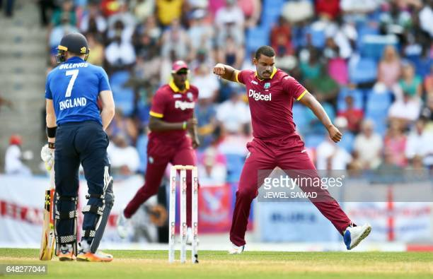 West Indies cricketer Shannon Gabriel celebrates dismissing England's batsman Sam Billings during the second of the threematch One Day International...