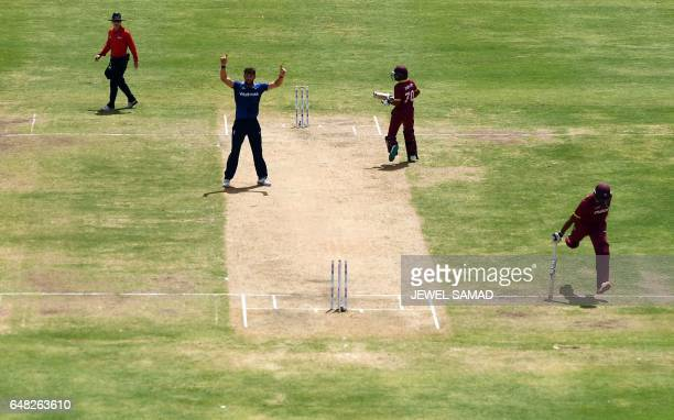 West Indies cricketer Shannon Gabriel gets run out during the second of the threematch One Day International series between England and West Indies...
