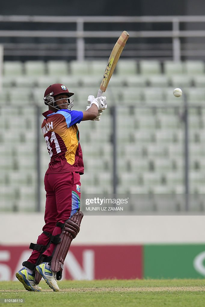 West Indies cricketer Tevin Imlach plays a shot during the under-19s World Cup cricket final between India and West Indies at the Sher-e-Bangla National Cricket Stadium in Dhaka on February 14, 2016. AFP PHOTO/Munir uz ZAMAN / AFP / MUNIR UZ ZAMAN