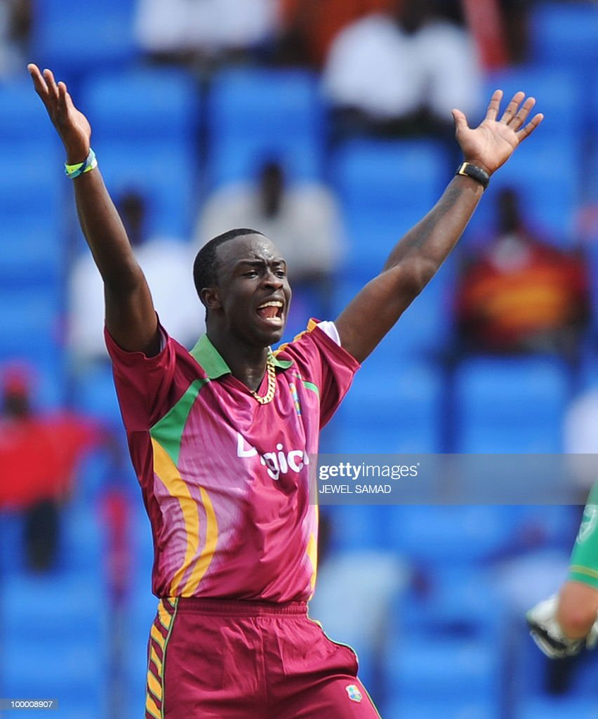 West Indies crickter Kemar Roach celebrates after dismissing South African batsman Johan Botha during the first T20 match between West Indies and South Africa at the Sir Vivian Richards Stadium in St John's on May 19, 2010. AFP PHOTO/Jewel Samad