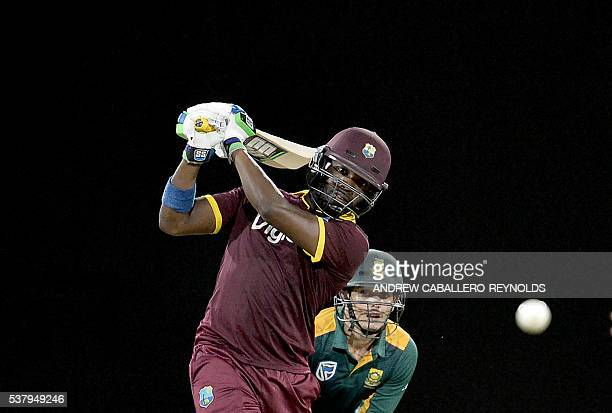 TOPSHOT West Indie's Darren Bravo plays a shot during a Oneday International cricket match between the West Indies and South Africa in the TriNation...