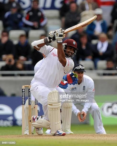 West Indies debutant Assad Fudadin in bats during the third Test match at Edgbaston Birmingham