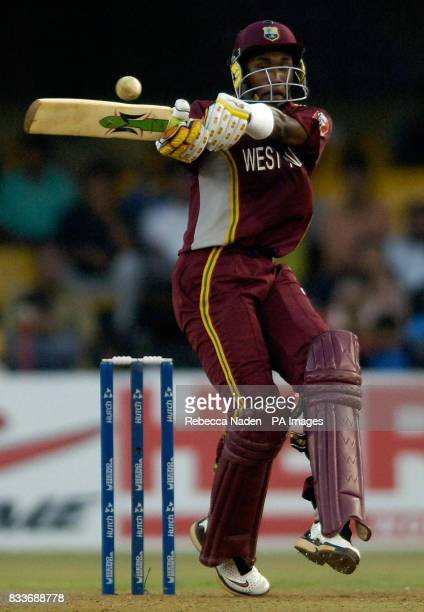 West Indies Dwayne Bravi in action during the ICC Champions Trophy match at the Sardar Patel Stadium Ahmedabad India