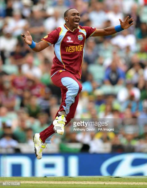 West Indies' Dwayne Bravo appeals for the wicket of Pakistan's MisbahulHaq during the ICC Champions Trophy match at The Oval London
