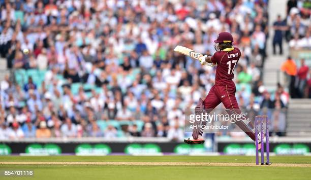 West Indies' Evin Lewis plays a shot during the fourth OneDay International cricket match between England and the West Indies at the Oval in London...