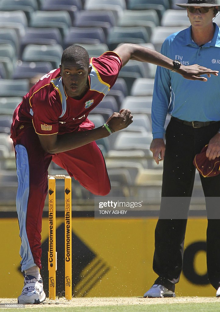 West Indies fast bowler Jason Holder in action during the one-day international cricket match between Australia and the West Indies at the WACA ground on February 3, 2013. AFP PHOTO/Tony ASHBY IMAGE