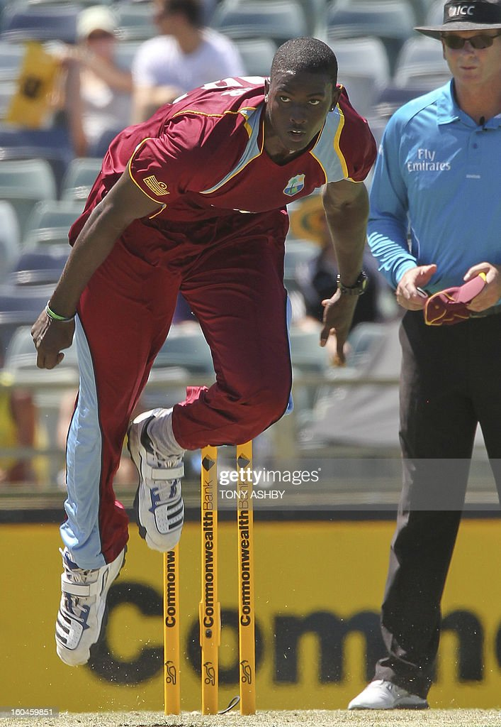 West Indies fast bowler Jason Holder sends down a delivery during the one-day international cricket match between Australia and the West Indies at the WACA ground on February 1, 2013. AFP PHOTO/Tony ASHBY IMAGE