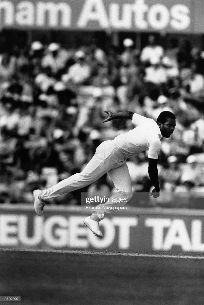 West Indies fastbowler Malcolm Marshall in midair action Original Publication People Disc HU0434