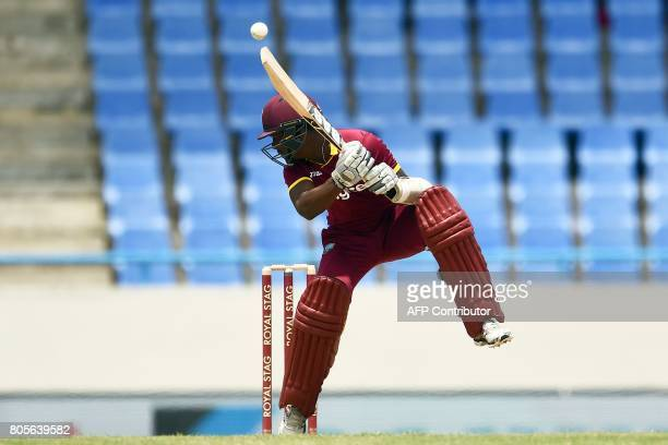 West Indies' Jason Mohammed avoids a bouncer during the fourth One Day International match between West Indies and India at the Sir Vivian Richards...