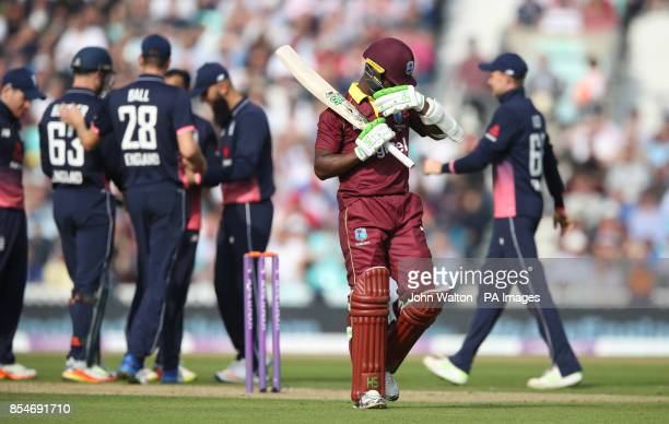 West Indies Jason Mohammed walks off dejected after getting out for 46 during the Fourth Royal London One Day International at the Kia Oval London