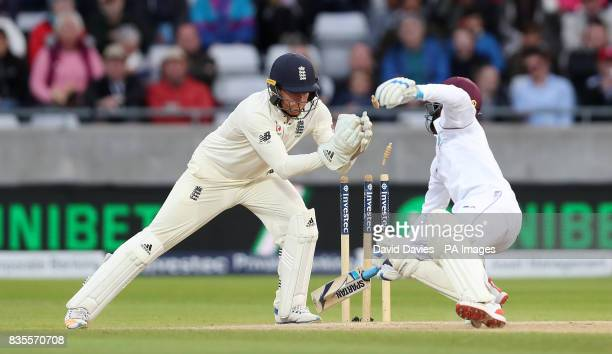 West Indies Jermaine Blackwood is stumped by England's Jonny Bairstow during day three of the First Investec Test match at Edgbaston Birmingham