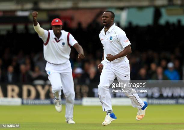 West Indies' Kemar Roach celebrates dismissing England's Dawid Malan during day two of the Third Investec Test match at Lord's London
