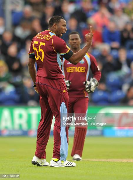 West Indies' Kieron Pollard celebrates taking the wicket of South Africa's Colin Ingram during the ICC Champions Trophy match at The SWALEC Stadium...