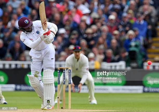 West Indies' Kyle Hope plays a shot during play on day 2 of the first Test cricket match between England and the West Indies at Edgbaston in...