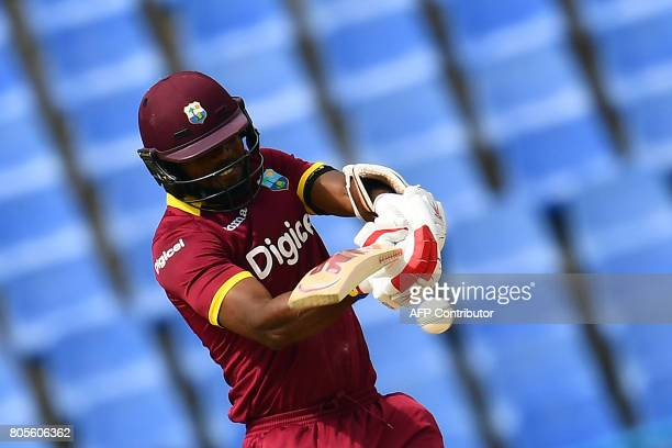 TOPSHOT West Indies' Kyle Hope plays a shot during the fourth One Day International match between West Indies and India at the Sir Vivian Richards...