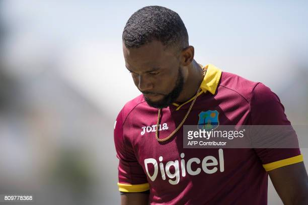 West Indies' Kyle Hope reacts after being caught during the fifth One Day International match between West Indies and India at the Sabina Park...