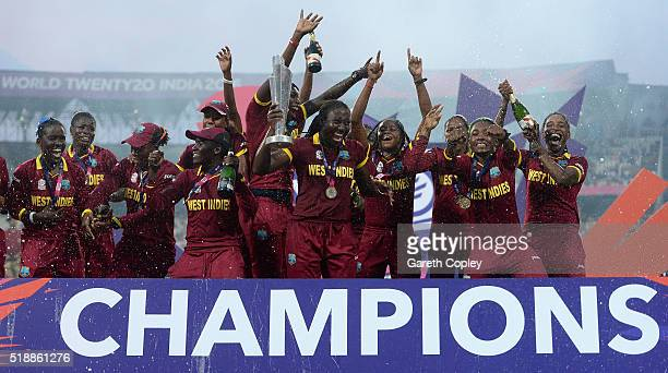 West Indies lift the trophy after winning the Women's ICC World Twenty20 India 2016 Final between Australia and the West Indies at Eden Gardens on...