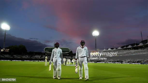 West Indies not out batsmen Shai Hope and Roston Chase leave the field at stumps on day two of the 3rd Investec Test match between England and the...