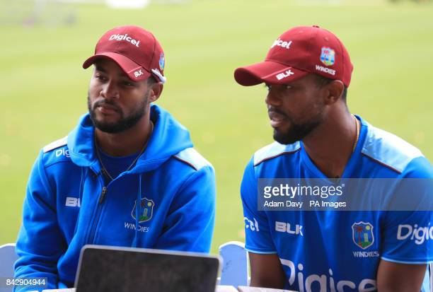 West Indies' Shai Hope and his brother Kyle Hope during the nets session at Lords London