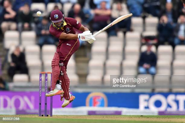 West Indies' Shai Hope bats during the final OneDay International cricket match between England and the West Indies at the Ageas Bowl in Southampton...