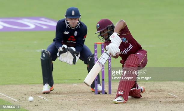 West Indies' Shai Hope hits out during the fifth Royal London One Day International at the Ageas Bowl Southampton