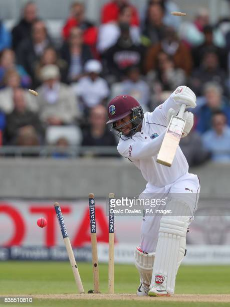 West Indies Shai Hope is bowled by England's Toby RolandJones during day three of the First Investec Test match at Edgbaston Birmingham