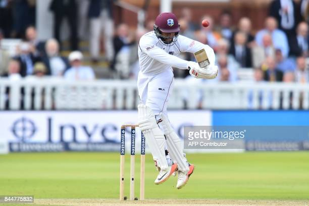 West Indies' Shai Hope plays a shot during the third day of the third international Test match between England and West Indies at Lord's cricket...