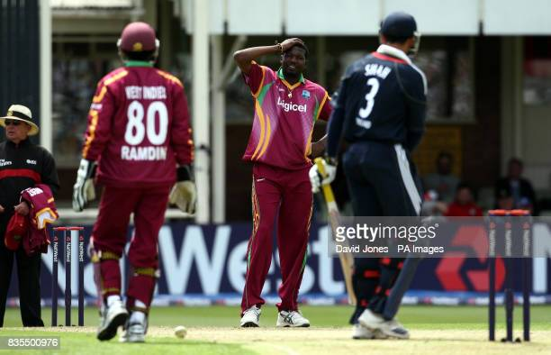 West Indies spinner Sulieman Benn rues a missed opportunity against England's Owais Shah during the Third One Day International at Edgbaston...