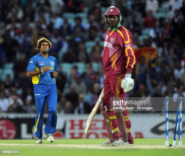 West Indies' Sulieman Benn is bowled out by Sri Lanka's Lasith Malinga during the ICC World Twenty20 Semi Final at The Oval London