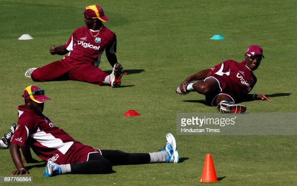 West Indies team practices at 3rd One day match of Airtel ODI series held at Sardar Patel Gujarat Stadium on Sunday in Ahmedabad