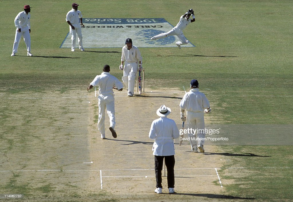 West Indies wicketkeeper David Williams leaps to take a ball from fast bowler Courtney Walsh during the 1st Test match against England at Sabina Park...