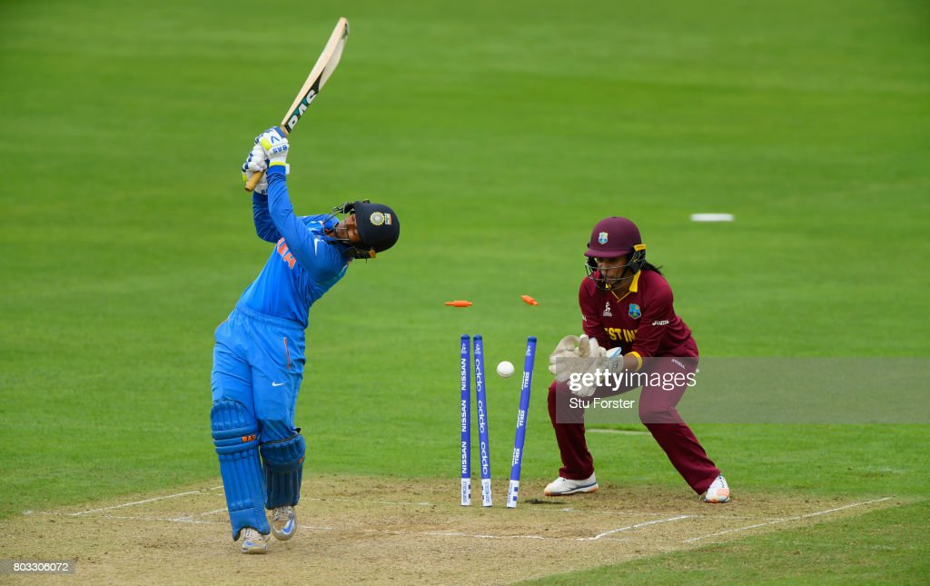 West Indies wicketkeeper Merissa Aguilleira reacts as India batsman Deepti Sharma is bowled during the ICC Women's World Cup 2017 match between West Indies and India at The County Ground on June 29, 2017 in Taunton, England.