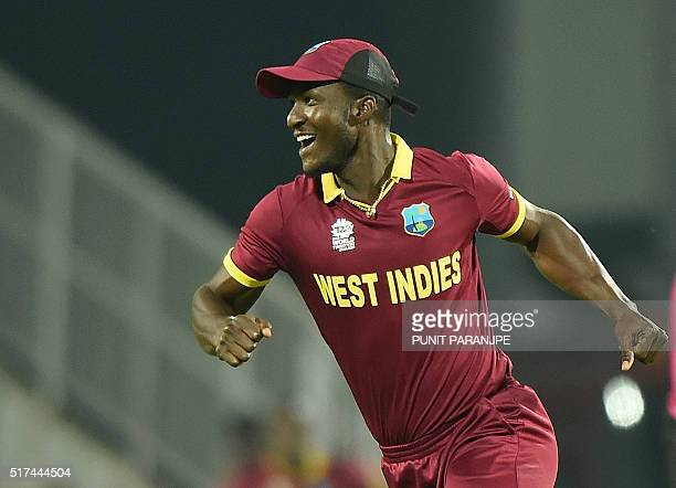 West Indies's captain Darren Sammy celebrates after the wicket of South Africa's batsman Hashim Amla during the World T20 cricket tournament match...