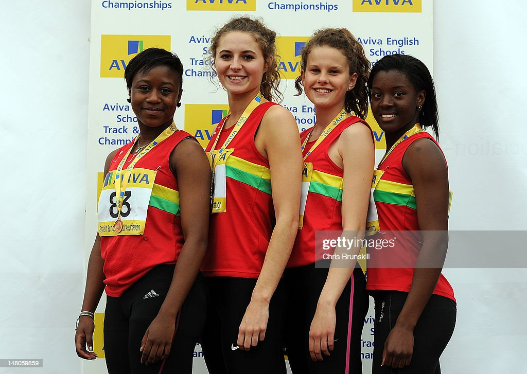 West Midlands pose with their medals after placing 3rd in the Inter Girls 4 x 100 Metres during Day 2 of the Aviva English Schools Track & Field Championships at the Gateshead International Stadium on July 7 in Gateshead, England. Search Aviva Athletics on Facebook to Back The Team.