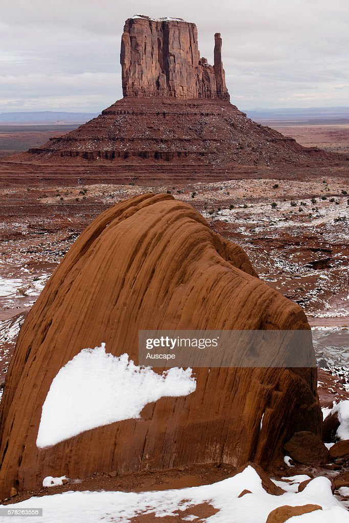West Mitten Butte after early winter snowfall Monument Valley Navajo Tribal Park Arizona USA