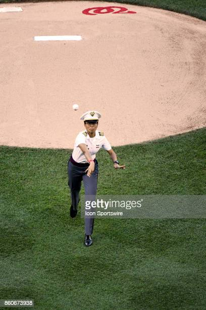 West Point Cadet Simone Askew the first captain of the Corps of Cadets throws out the ceremonial first pitch of game two of the NLDS between the...